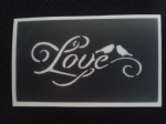 Love birds & love word stencils for etching on glass